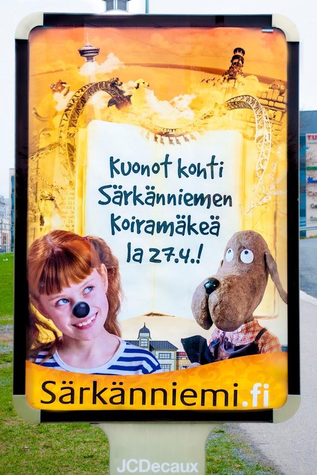 Särkänniemi in Tampere, Finland. Street advertising. Molleví, Mainoskenttä
