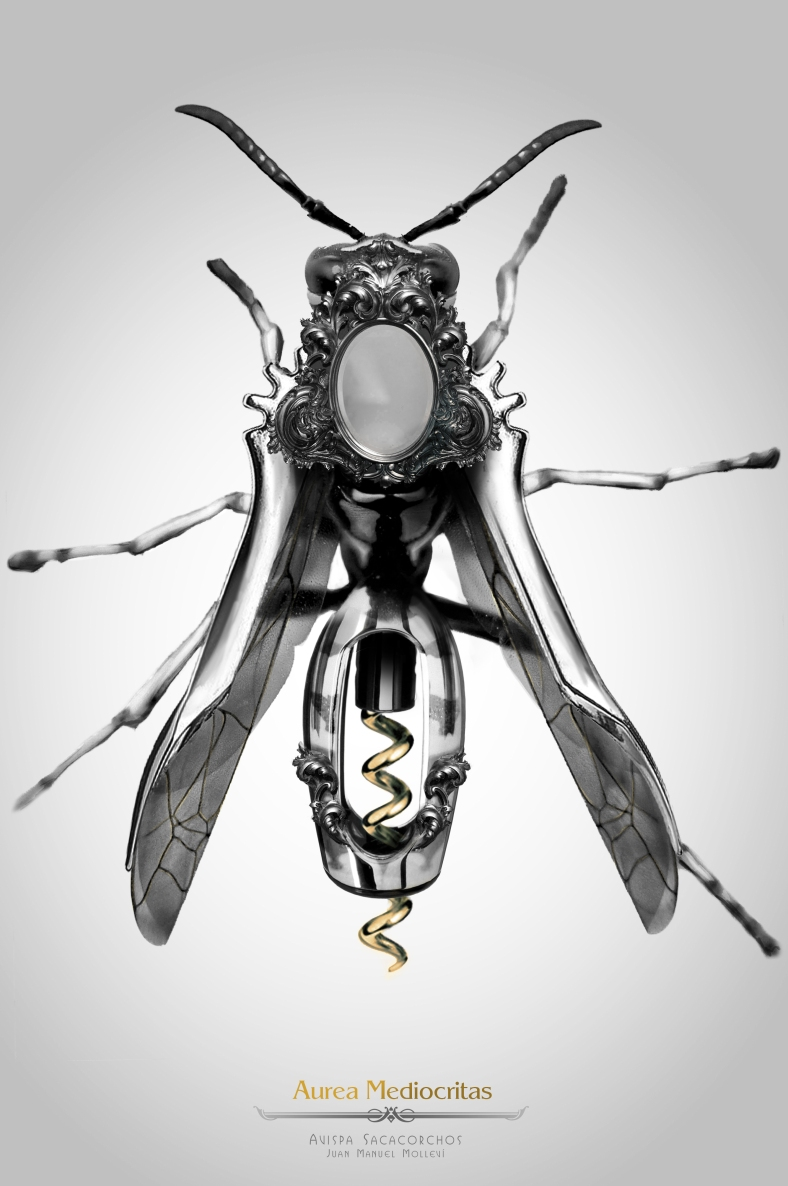 Avispa Sacacorchos insects, insect, steampunk, art, artist, molleví, bug, coleopter, beettle, beatle, dragonfly, fork, carmin, lipstick, clock, watch, spoon, silver, gold, golden, mechanical, ladybug, worm, animals, barroco, rococo, jewelry, jewels, parfum, spider, aracne, arachnid, black, dark, poison, bee, wine, design, stilish, luxury, scary, rubi, diamond, magic, fantasy, witch, wizard, macro, photoshop, handcraft, blacksmith, life