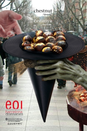 fall, halloween, autumn, mollevi, juan manuel mollevi, magic, wizard, old, creepy, EOI, Escola Oficial Idiomas, Barcelona, Drassanes, scary, commercial, anuncio, advertising, november, octover, lenguage, study, english, catalan, barcelona, hat, witch, chesnuts, hands, spain, catalonia, catalunya